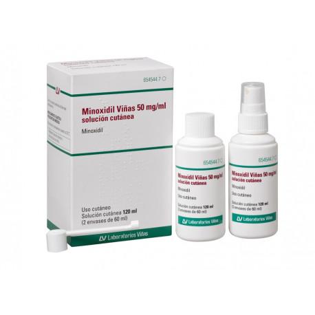MINOXIDIL VIÑAS 50 MG/ML SOLUCION CUTANEA 120 ML ( 2 ENVASES DE 60 ML )