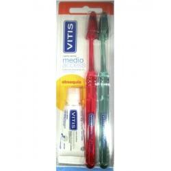 Pack 2 cepillos medio access y pasta blanqueadora Vitis